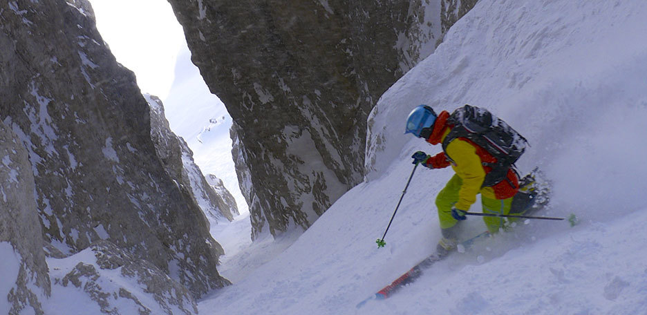 Holzer Couloir Steep Skiing