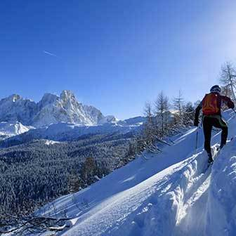 Ski Mountaineering to Mount Castellazzo from Passo Rolle