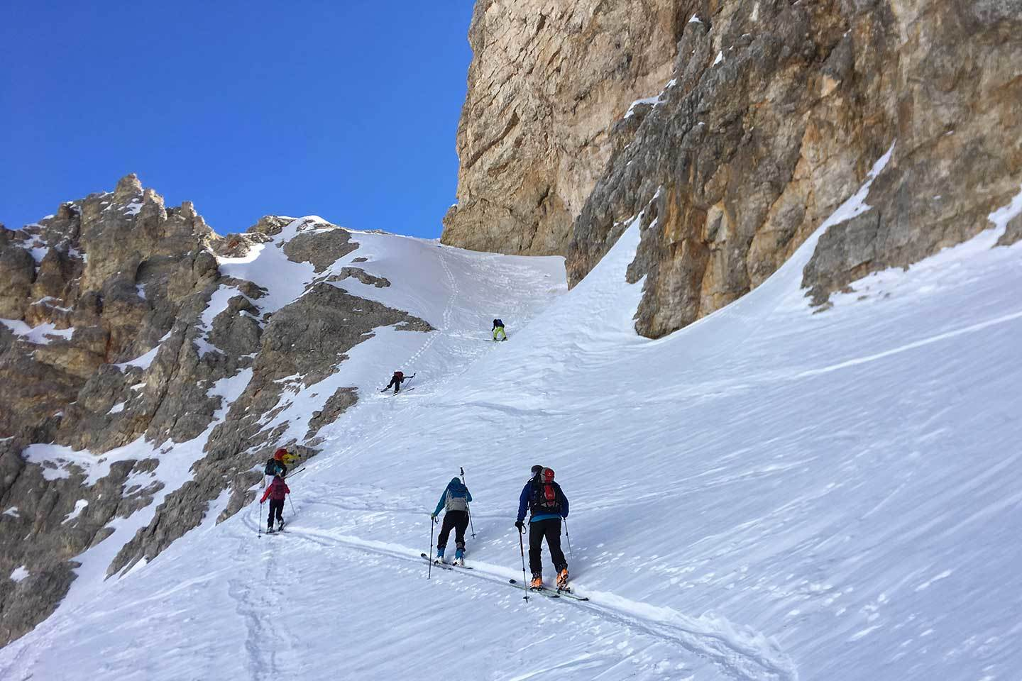Ski Mountaineering to Croda Rossa d'Ampezzo at Forcella Colfiedo