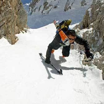 Ski Mountaineering at the Forcella Adì at Croda da Lago