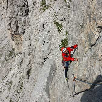 I Love My Dogs Climbing Route on Lastoi de Formin