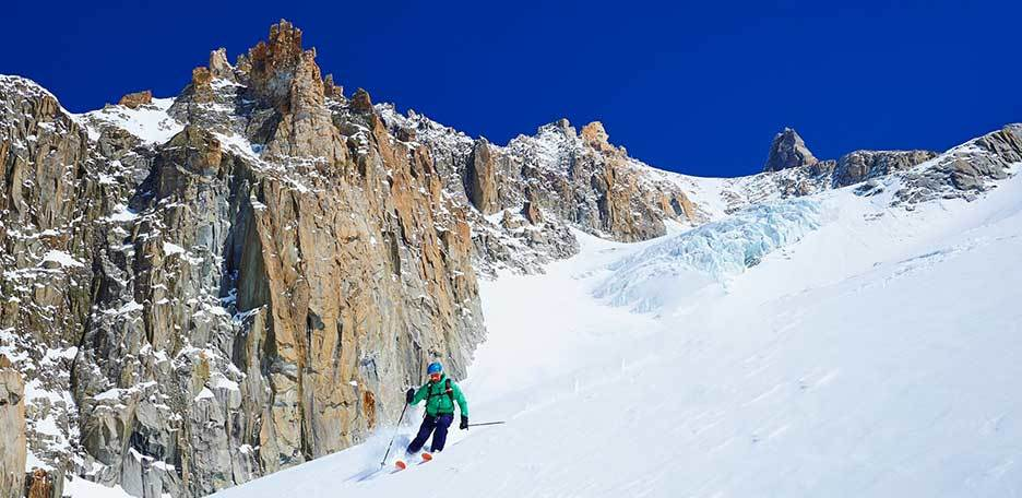 Off-piste Skiing in the Mont Blanc Couloirs, Aiguille des Glaciers