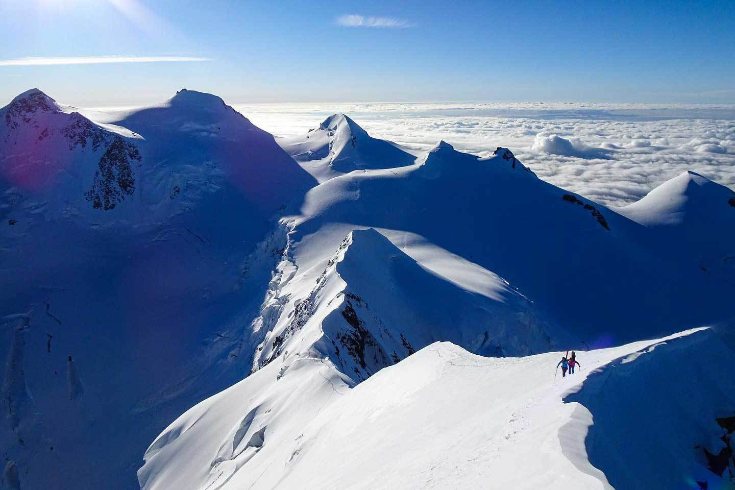 Extreme Off-piste Skiing in Monte Rosa to Lyskamm