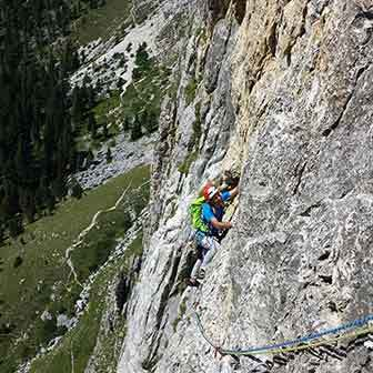 Micheluzzi Climbing Route to Piz Ciavazes in the Sella Group