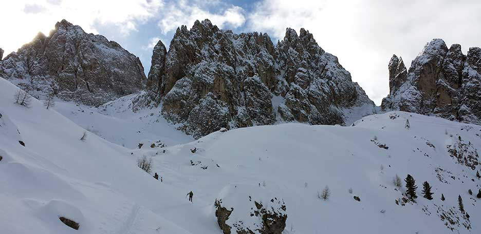 Ski Mountaineering to Forcella del Nevaio at Cadini di Misurina