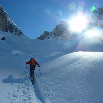 Ski Mountaineering to Forcella della Neve at Cadini di Misurina