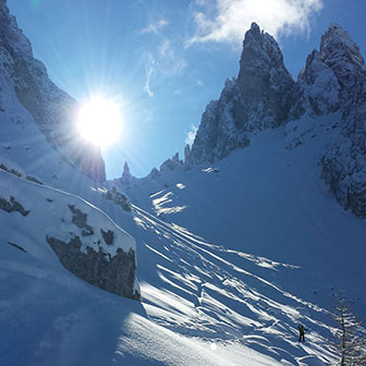 Ski Mountaineering to Forcella Pogoffa at Cadini di Misurina