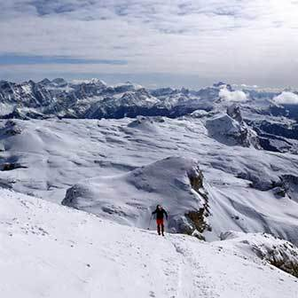 Ski Mountaineering to Mount Puez, East Side