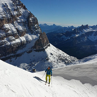 Ski Mountaineering to Forcella dei Quaire in South Fanis
