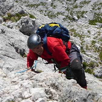 Spigolo Abram Climbing Route to Piz Ciavazes in the Sella Group