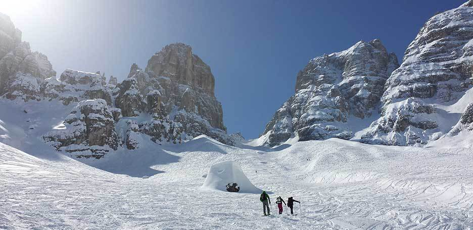 Ski Mountaineering in Val Fonda at the Forcella del Cristallo
