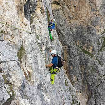 The Wall Climbing Route on the Torre Grande of Falzarego