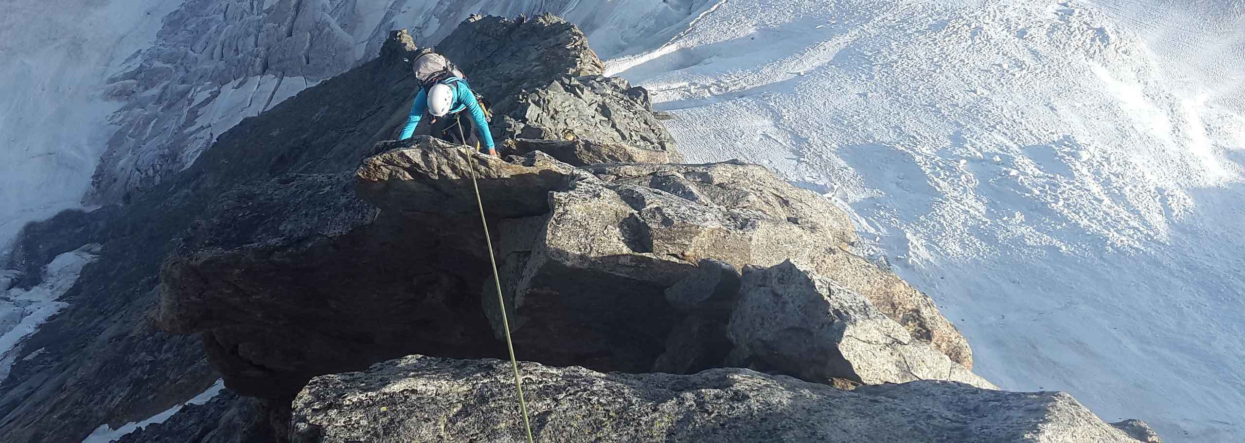 Rock Climbing in Courmayeur Mont Blanc with a Mountain Guide